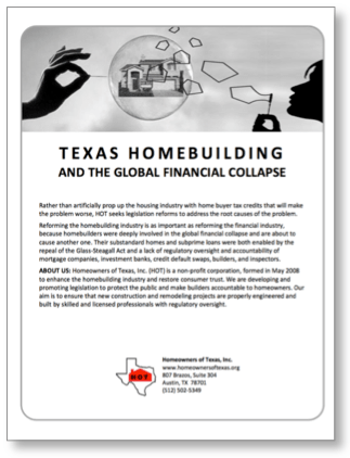 Texas Homebuilding and the Global Financial Collapse is a white paper I wrote in 2010 to analyze the role homebuilding had in the collapse.