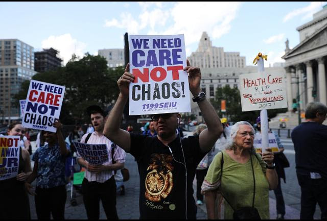 "Trumpcare protesters say, ""We need Care, not Chaos."""