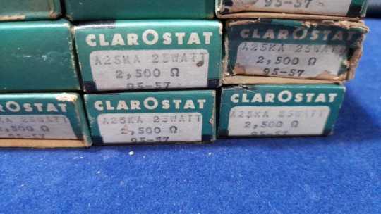 3 UND CLAROSTAT A-25-KA ~ 25W 2.5K OHM  CERAMIC POWER RESISTOR ~ NOS 1