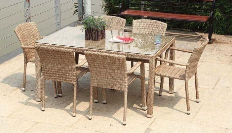 table de jardin rotin 6 chaises mi