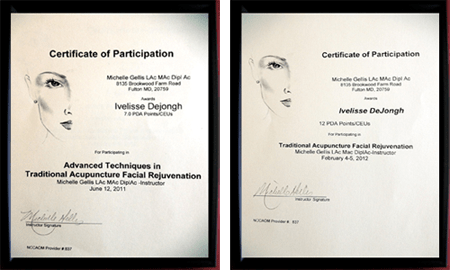 Certificate of Participation - Advance Techniques in Traditional Acupuncture Facial Rejuvenation