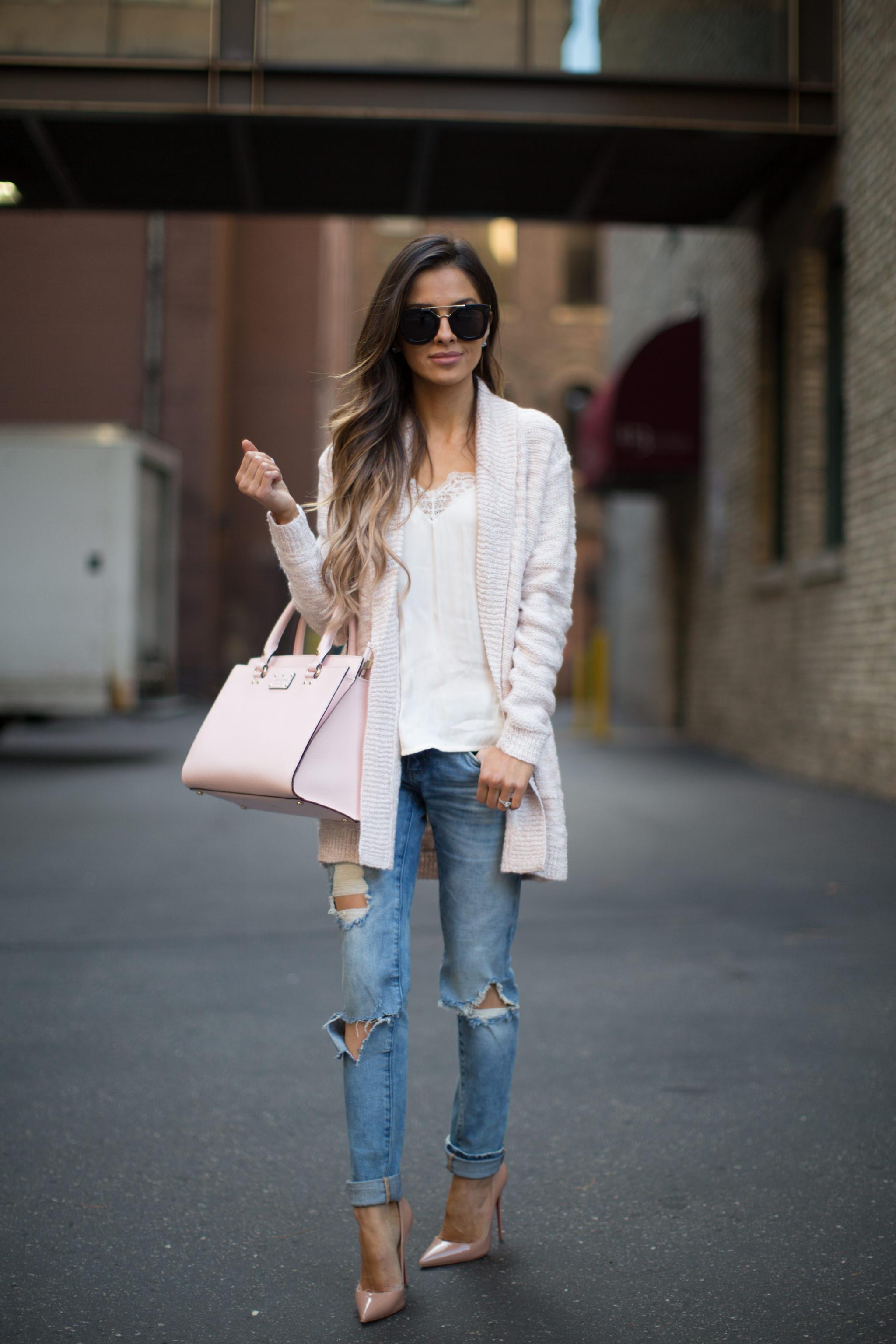 Pink Cardigan Amp Ripped Jeans Mia Mia Mine