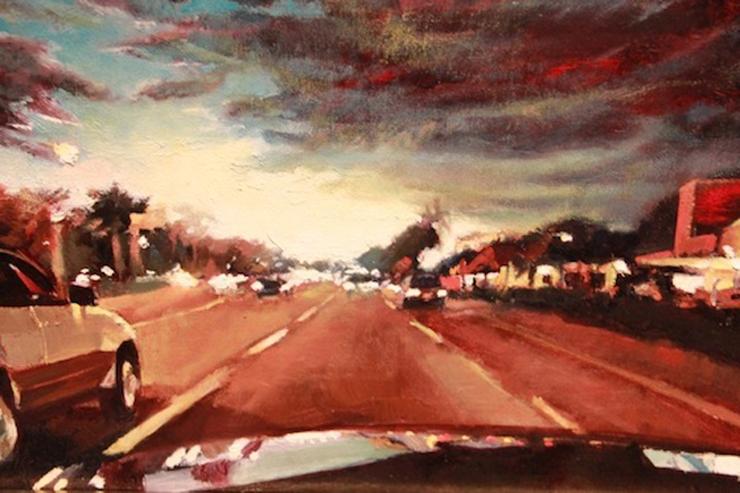 Artist: John Sanchez. Title: Cruising Down Flagler Evening, 2012.