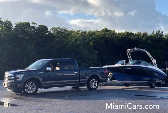 2015 Ford F-150 SuperCrew with 6.5' Box Towing a 2017 Yamaha AR190 in Key Biscayne, Florida