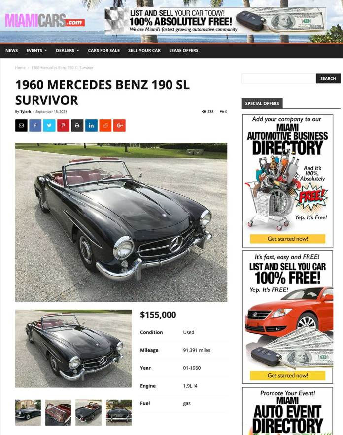 Sample Car Listed for Sale on MiamiCars.com