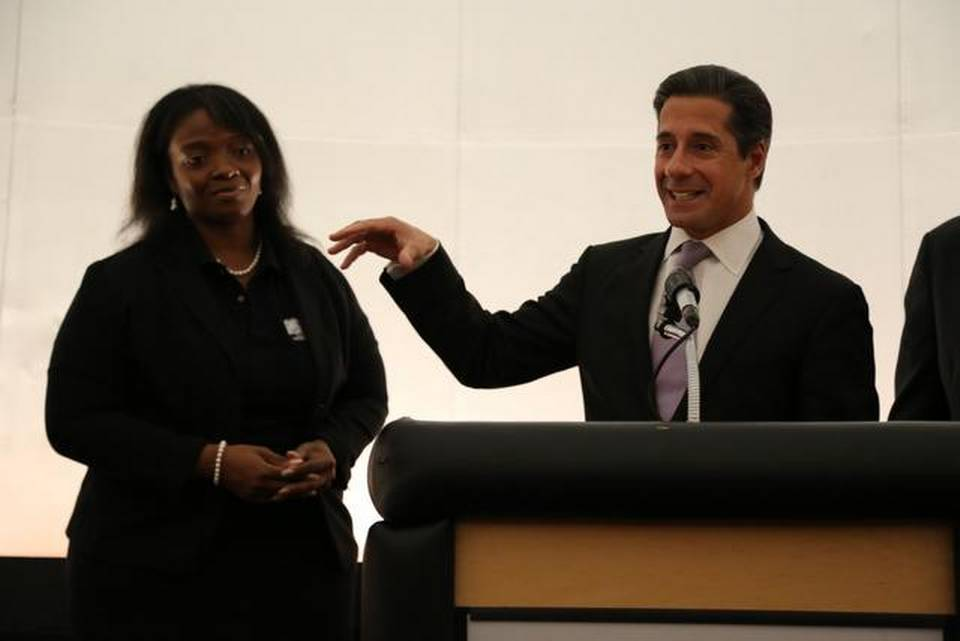 Leading the way: Miami-Dade County Public Schools Superintendent Alberto M. Carvalho introduces Shaakira Hardy, the planetarium director at Booker T. Washington High.