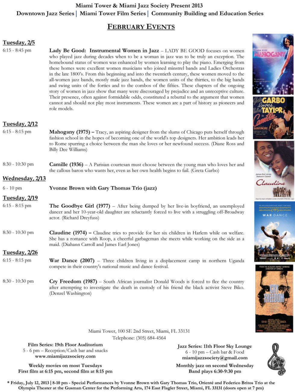 February 2013 schedule & synopses