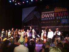 The musicians receive thundering applause from an enthusiastic crowd after a night of beautiful performances. Left to right: Richard Banks, Gary Thomas, Ben Falle, Pat Seymour, William Paredes, Yoel Del Sol, Eddy Balzola, Yvonne Brown, Jorge García, Federico Britos, Renyel Rivero, Raymer Olalde and Dony Felix