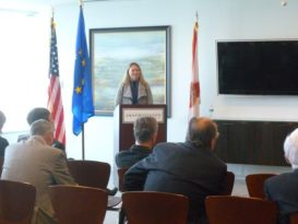 Viktoria Bodnarova, Regional Representative, Euraxess Links North America, presenting Horizon 2020 and EU Research & Innovation Funding – Jan. 19, 2016