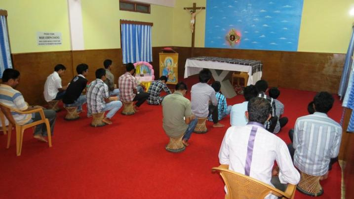 Seminarians in Prayer, Kristu Jyothi Minor Seminary, Miao