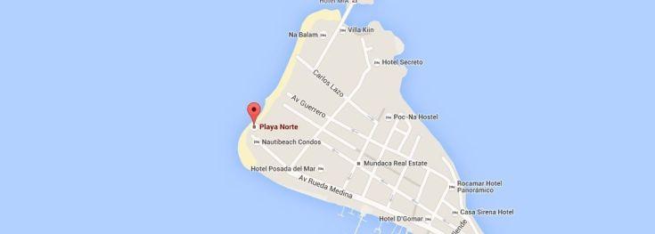 Playa norte mapa isla mujeres