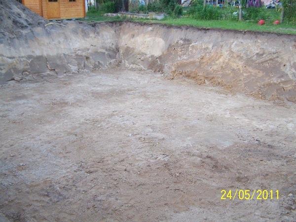Baugrube ausgehoben