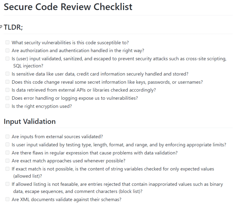 Screenshot of the security code review checklist