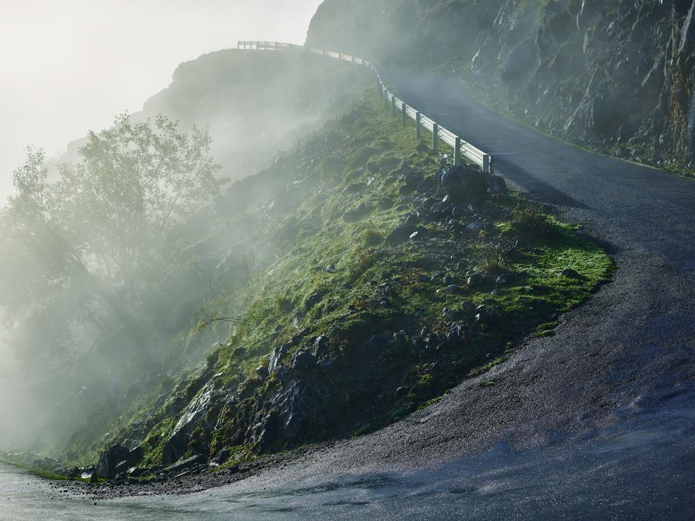 Alto de L'angliru climb, Asturias Mountains, Spain