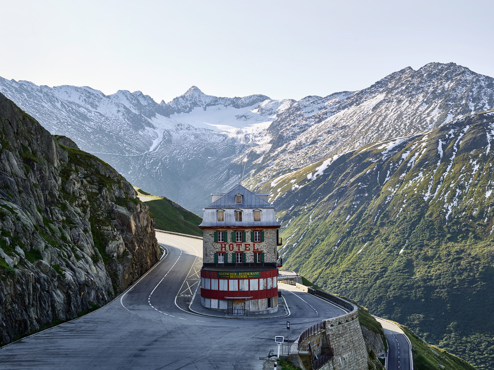 Hotel Belevdere, Furka Pass, Switzerland. Swiss Alps, hairpin, cycling, landscape photography