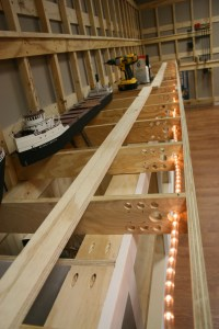 Lower deck frame work in place with walkway lights in place.