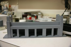 Bridge abutment primed and waiting for the finish color.