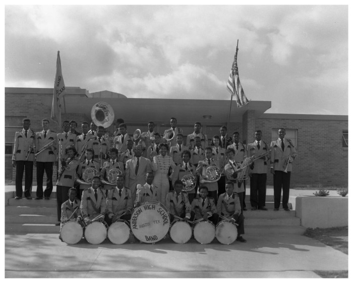 Anderson H.S. band 1955. Photo by Neal Douglass
