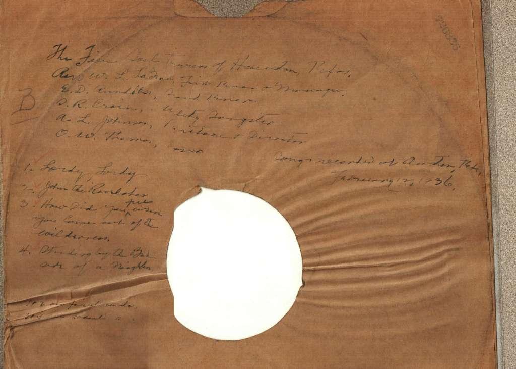 Dust jacket of Feb. 12, 1936 recording.