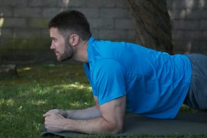 Head up during plank exercise