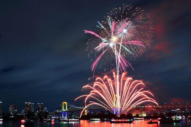Celebration Fireworks Rainbow Bridge Tokyo