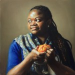 Girl Peeling A Mandarin, 2014, oil on linen, 20x20in (50x50cm)