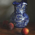 Mexican Pitcher With Peaches, 2015, oil on panel, 16x12in (40x30cm)