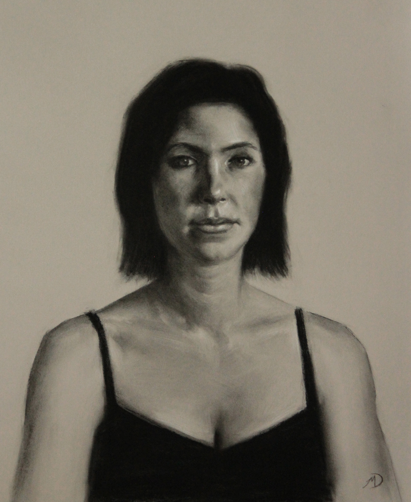 My Sister Becca, 2012, charcoal and chalk on paper, 18x22in (46x55cm)