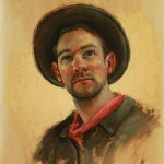 Self-Portrait in Wide Brimmed Hat, 2013, oil on panel, 20x16in (50x40cm)