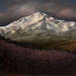 Sunrise on Pikes Peak, 2011, oil on linen, 18x12in (45.7x30cm)