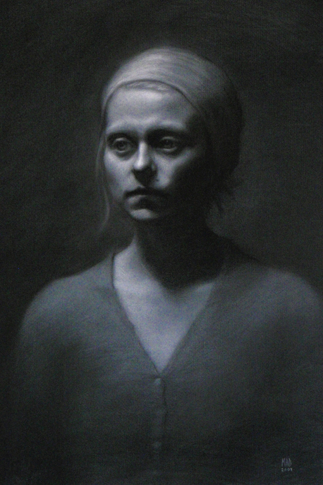 Woman in Waiting, 2009, charcoal and chalk on paper, 19x26in (48x66cm)