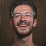 Self-Portrait Laughing, 2014, oil on linen panel, 14x11in (35.5x28cm)
