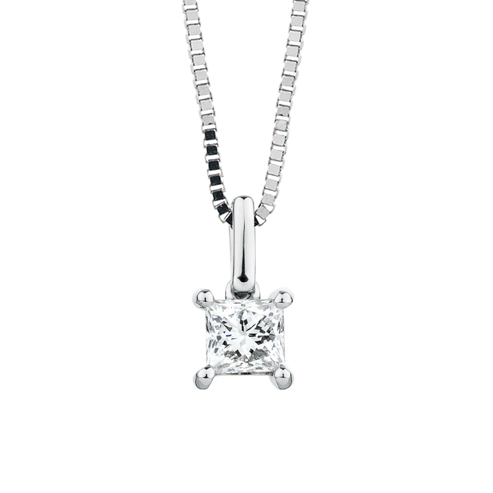 Solitaire Pendant With A 12 Carat Diamond In 18ct White Gold