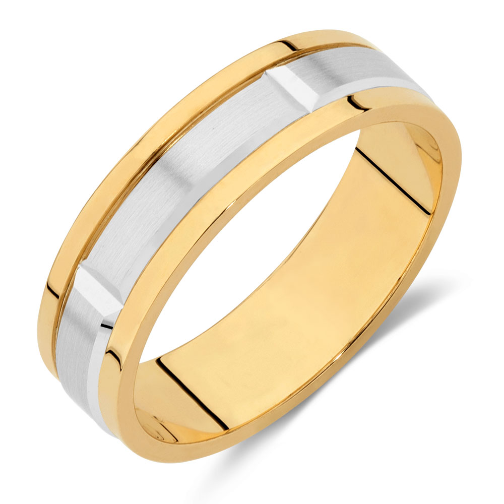Mens Wedding Band In 10ct Yellow Amp White Gold