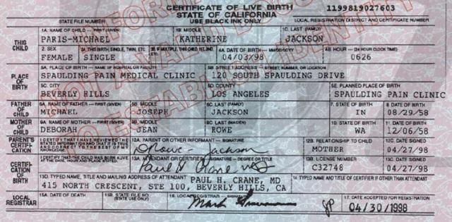 Birth certificate of Michael Jackson's daughter