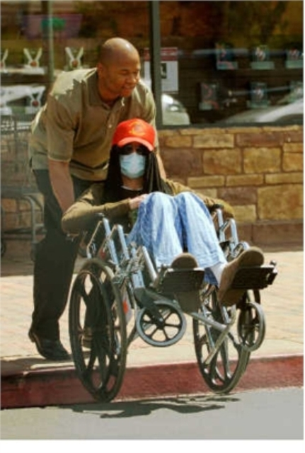 Michael Jackson in wheelchair