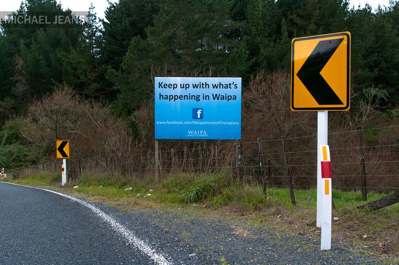 Facebook sign Mystery Creek Road Waipa district.