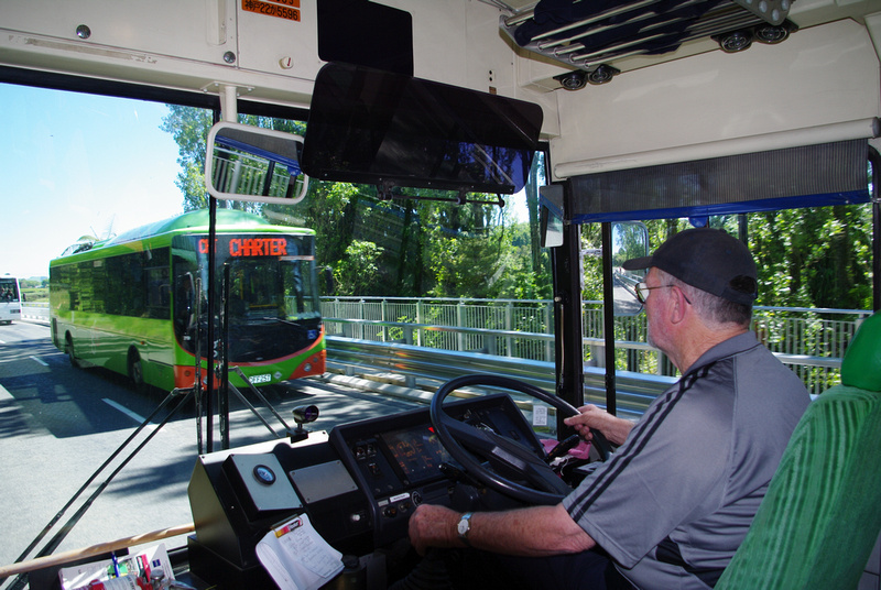 Park & Ride shuttle buses, Maungatautari Road, Karapiro, New Zealand