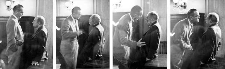 Lyndon B. Johnson, left, the Senate majority leader, is shown working over Theodore F. Green, D-R.I., chairman of the Senate Foreign Relations Committee in 1957. Photograph: George Tames/The New York Times.
