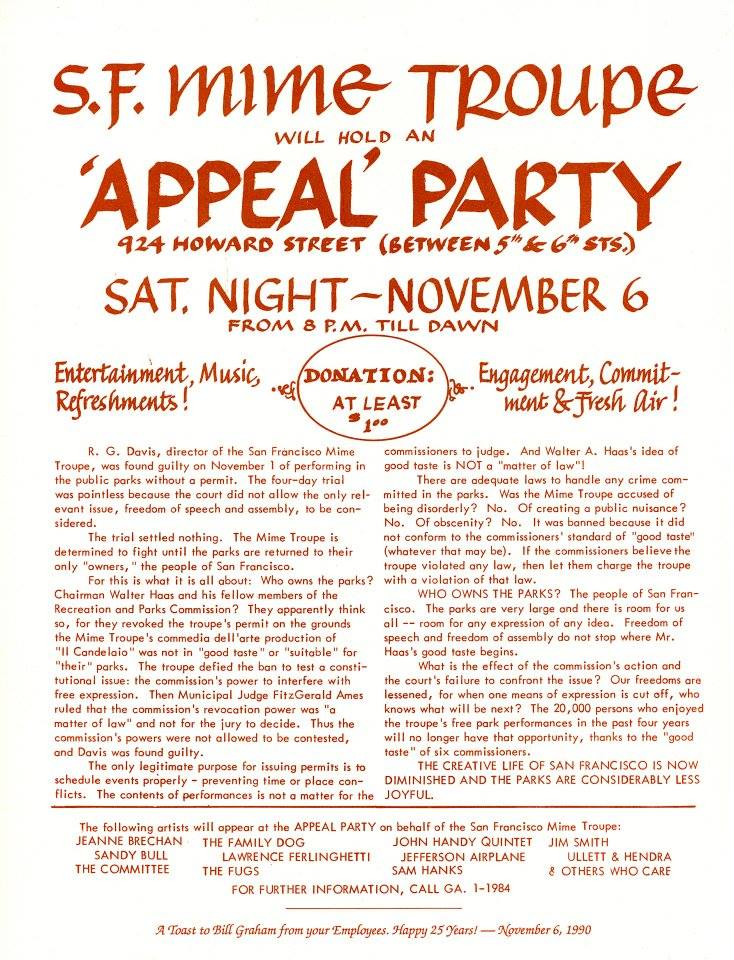 Mime Troupe Appeal Party Benefit Poster