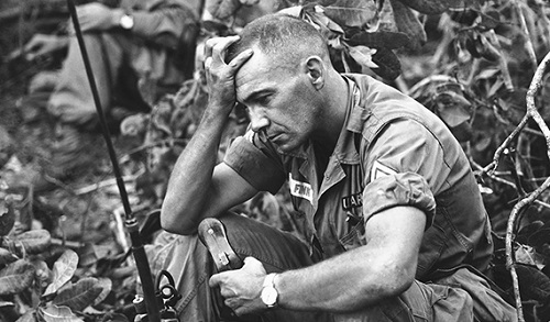 Sgt. Philip Fink calls in support during The Battle of Dong Xoai while assigned as an advisor to the 52nd Vietnamese Ranger Battalion. in 1965 (DOD photo by U.S. Marine Corps Staff Sgt. Steve Stibbens)