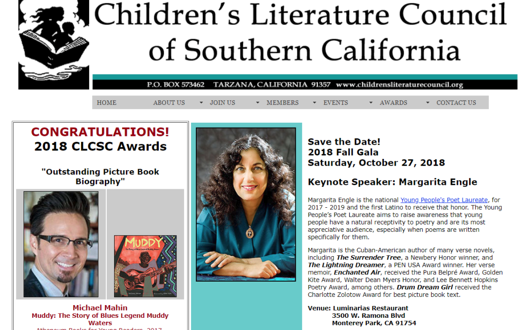 Muddy WINS Picture Book Biography Award from Children's Literature Council of Southern California!