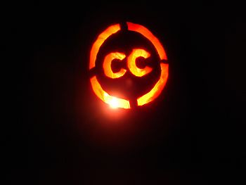 a fiery version of the Creative Commons logo