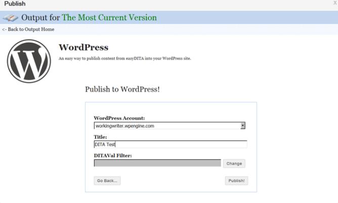 Publishing DITA content to WordPress
