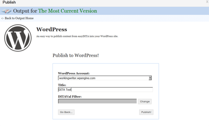 Publishing DITA content to WordPress