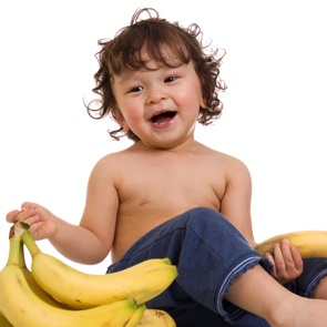 Toddler Eating Bananas