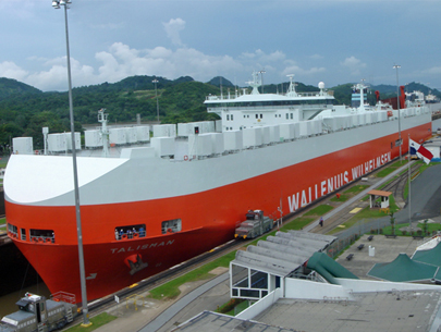 Ship passing through the Panama Canal.
