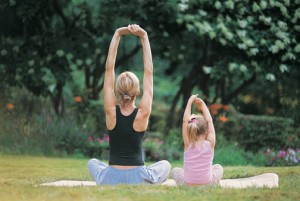 Yoga Mom and Daughter
