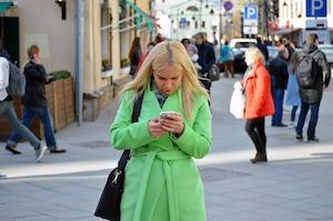 Woman Texting and Walking