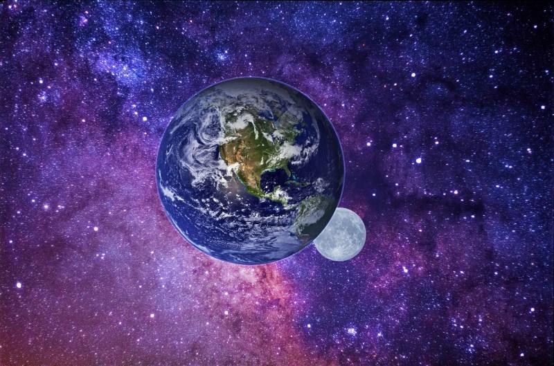 Moon Earth Galaxy Universe Cosmos